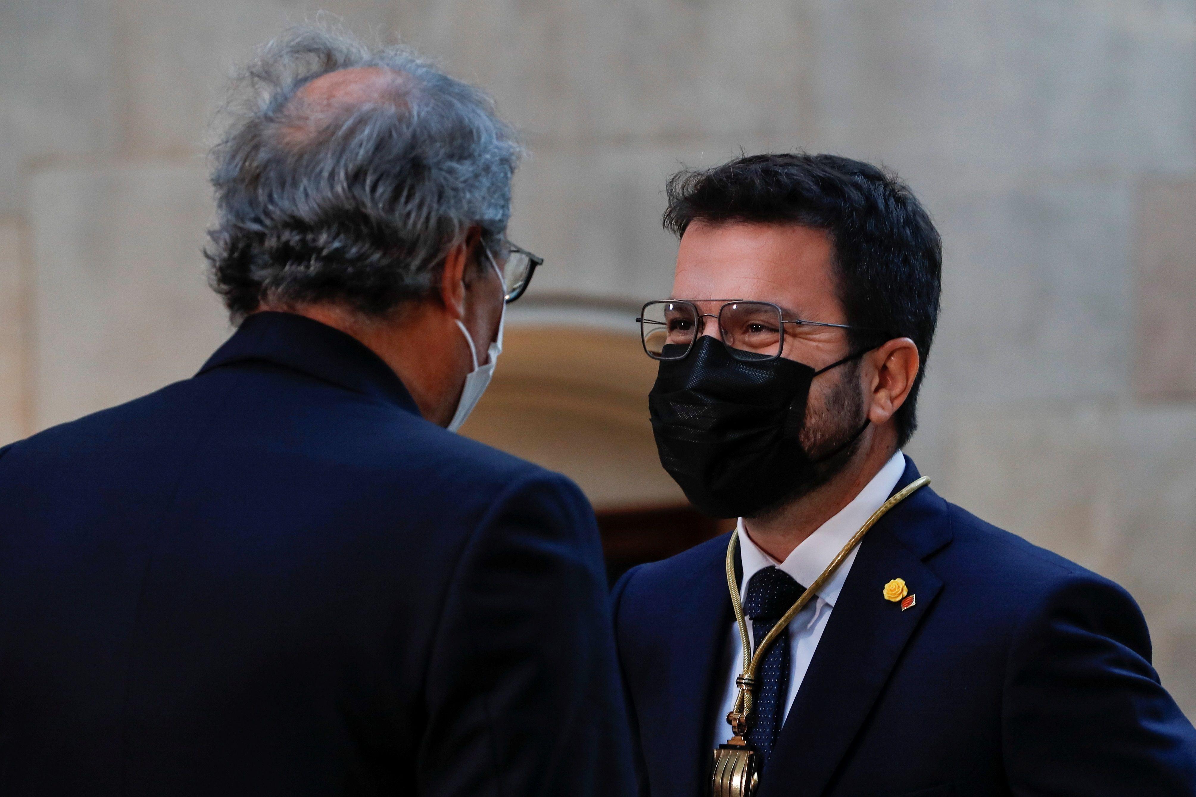 Aragonès con Quim Torra