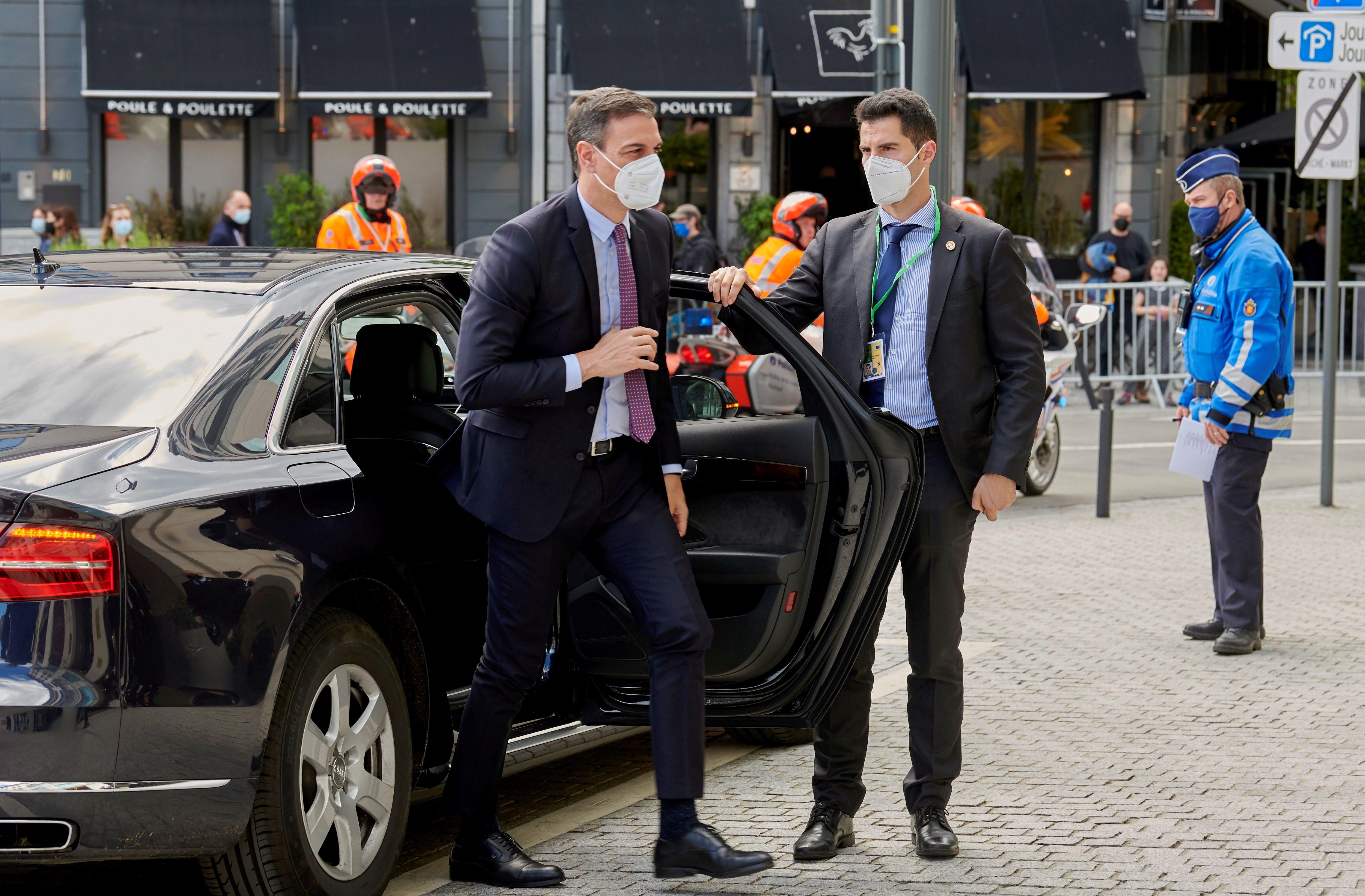 Sánchez, el lunes, a su llegada a Bruselas.