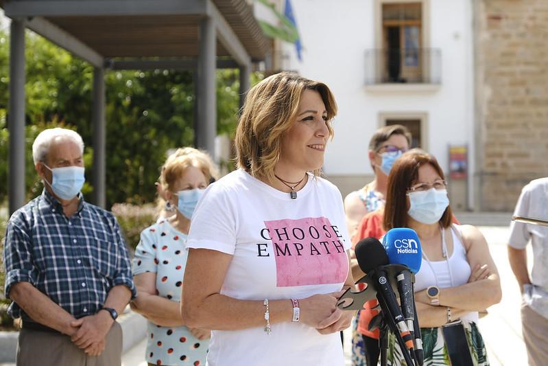 Susana Díaz, durante un acto en la localidad jiennense de Guarromán.