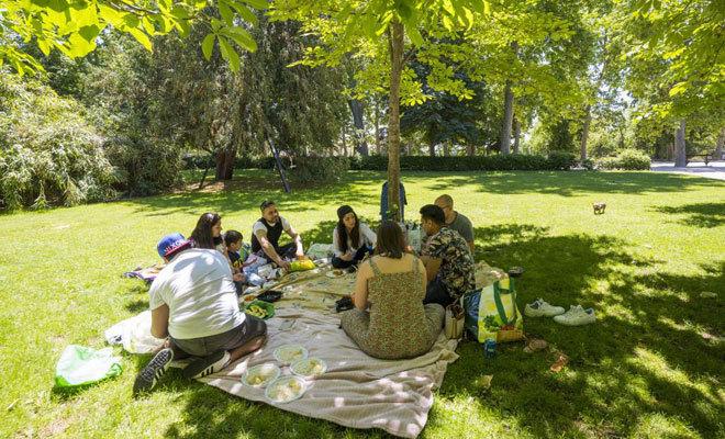 Un grupo de amigos almorzando en El Retiro.