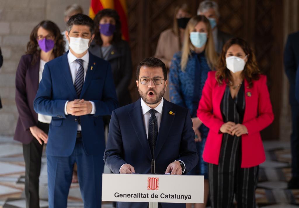 Pere Aragonès, ayer, tras la primera reunión de su Govern.