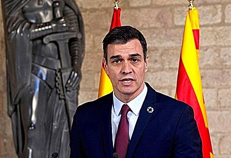 Pedro Sánchez, en la Generalitat en febrero de 2020.