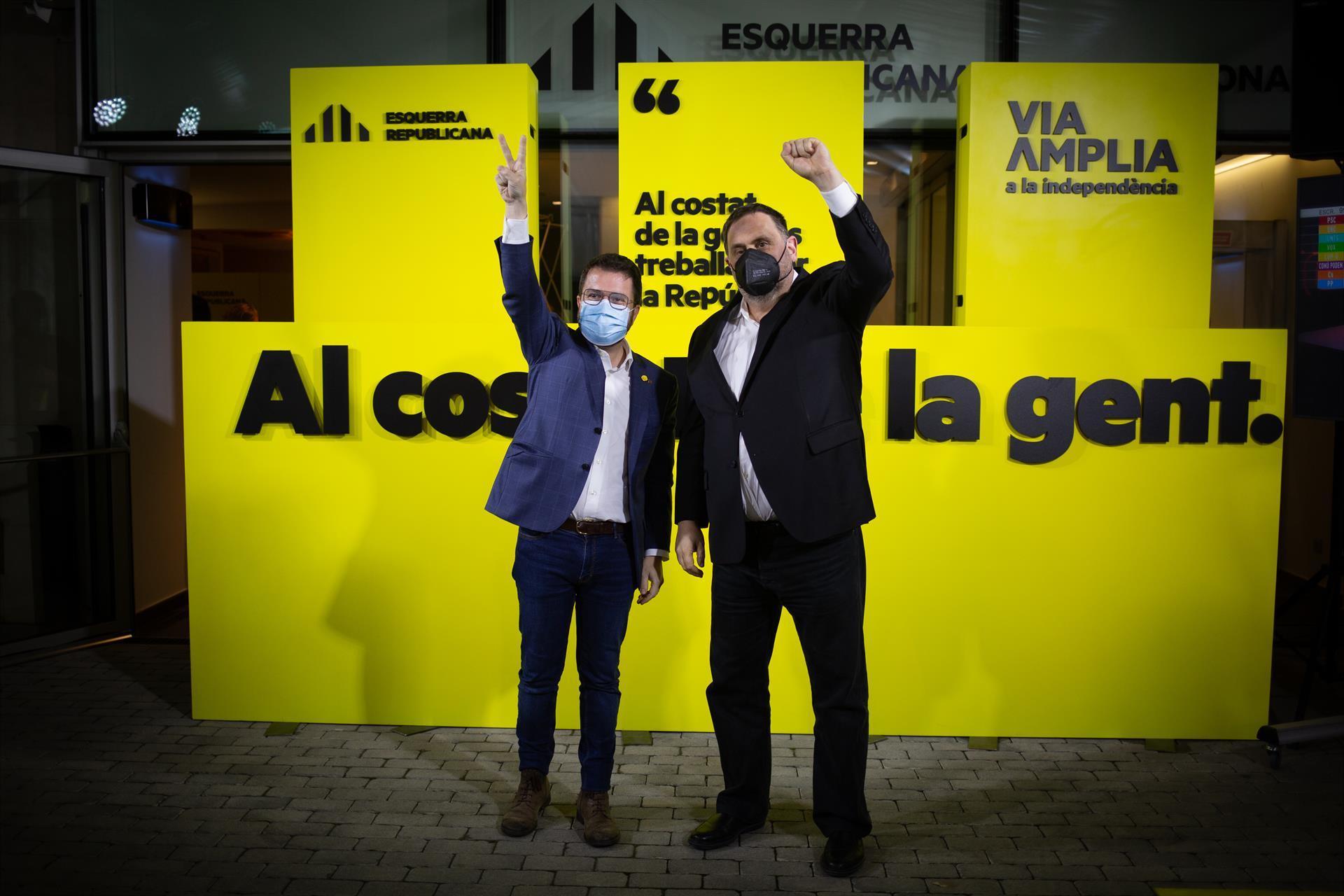 Pere Aragonès y Oriol Junqueras el 14-F.
