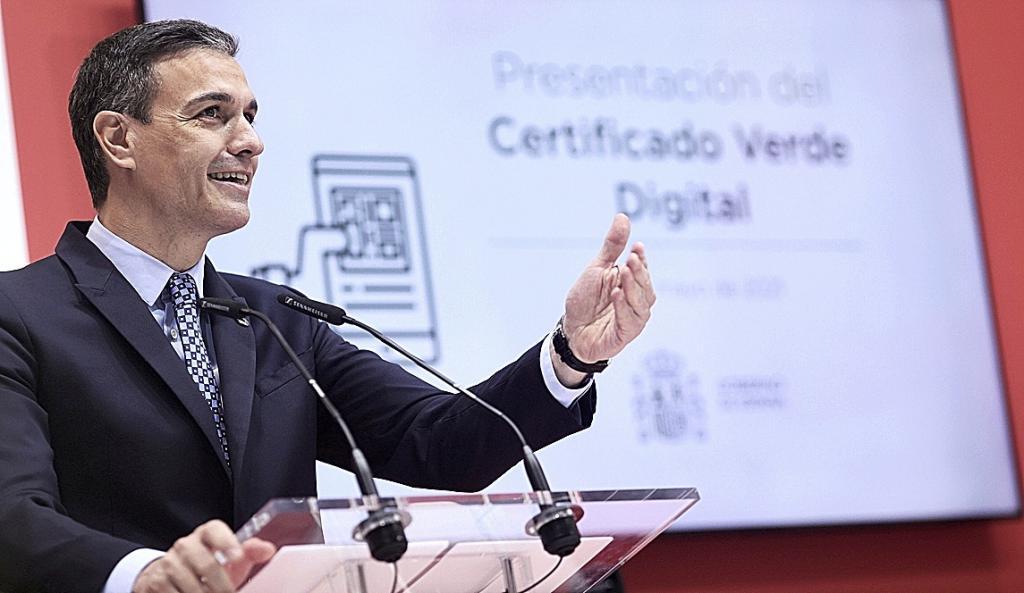 Pedro Sánchez, durante la presentación del certificado covid