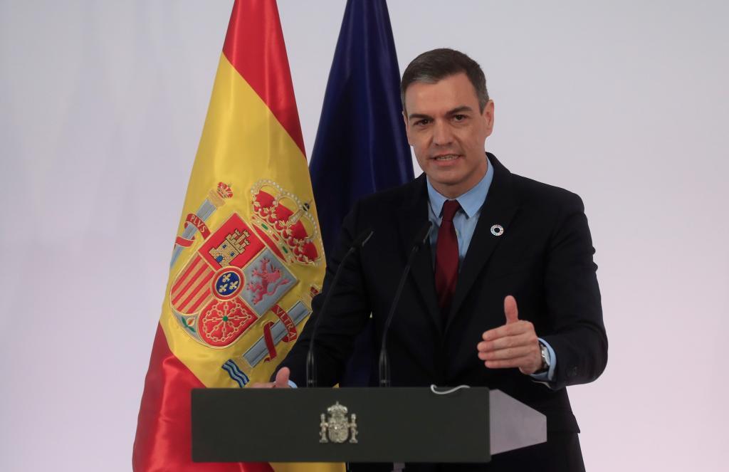 Pedro Sánchez, durante una comparecencia pública.