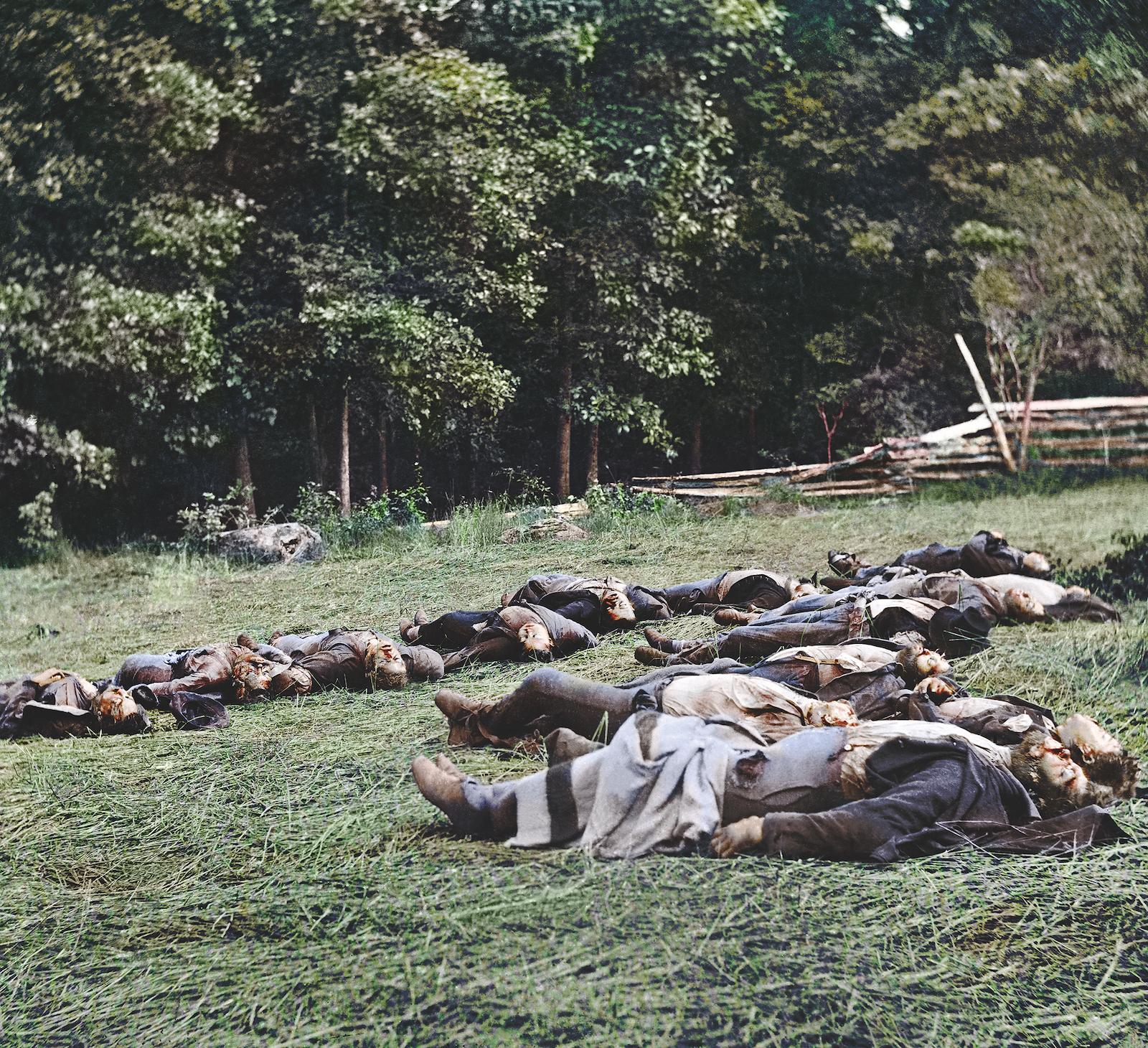 Soldados muertos en Gettysburg.