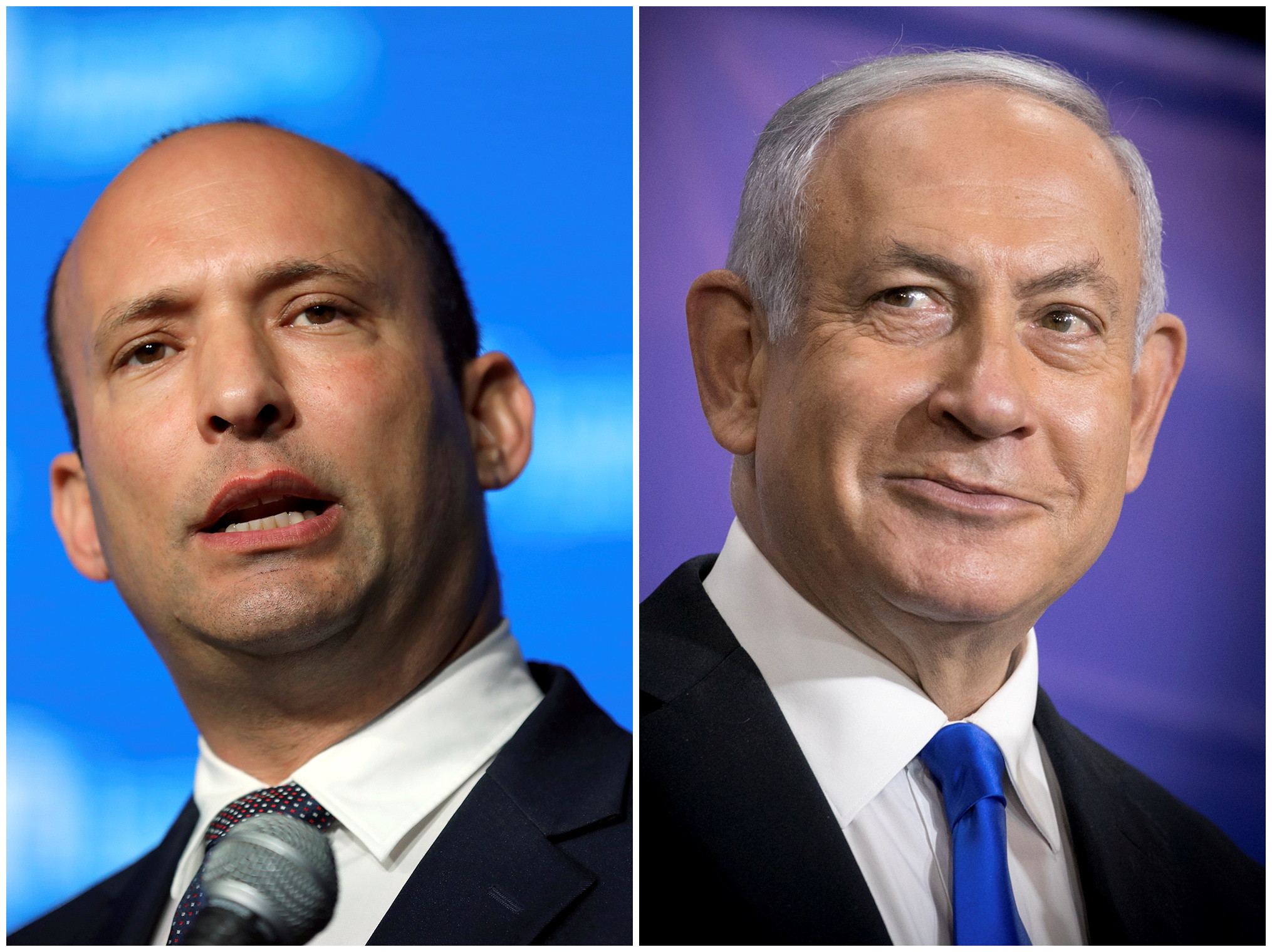 Naftali Bennett (izq.) y Benjamin Netanyahu.