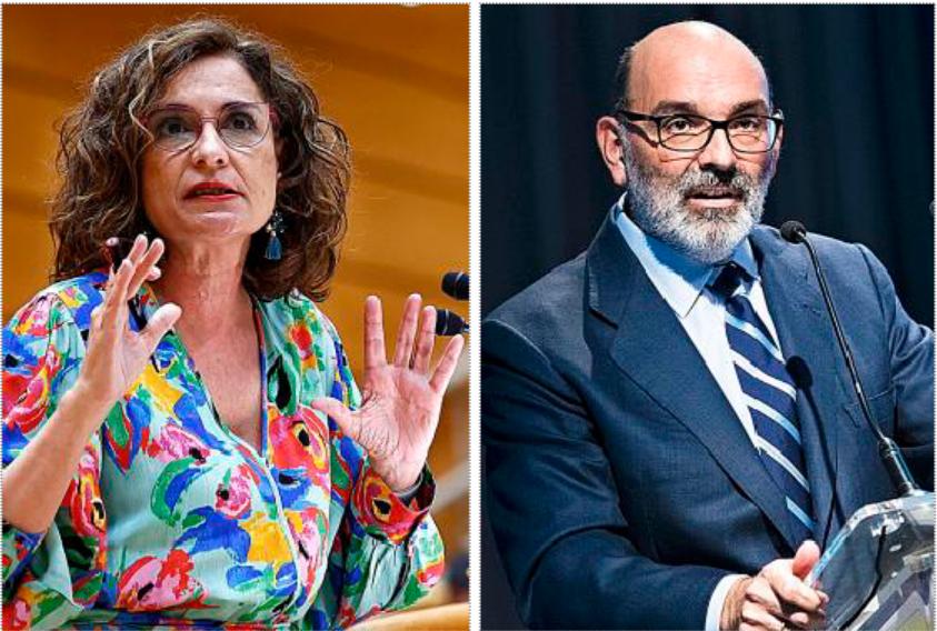 La ministra de Hacienda, María Jesús Montero, y el relevado presidente de Indra, Fernando Abril-Martorell.