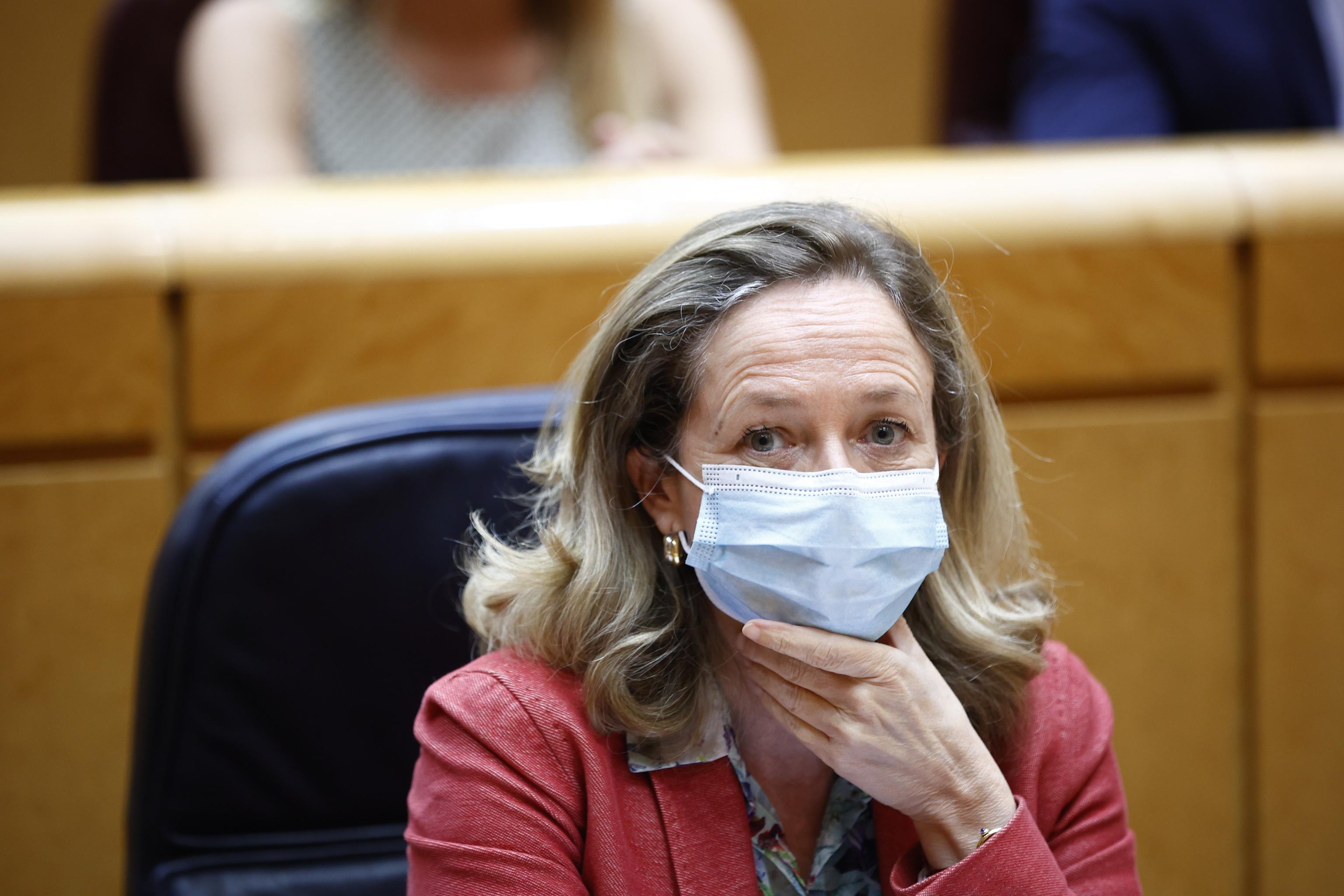 Nadia Calviño, durante la sesión Plenaria en el Senado.