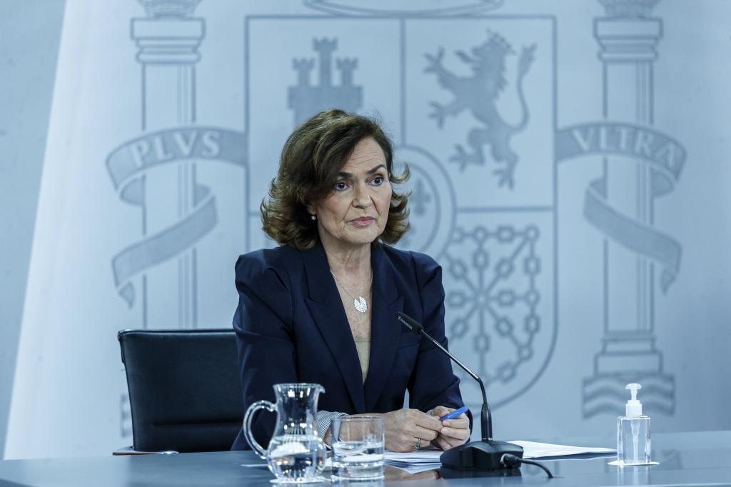 Carmen Calvo, vicepresidenta primera y ministra de Memoria Democratica, tras un Consejo de Ministros.