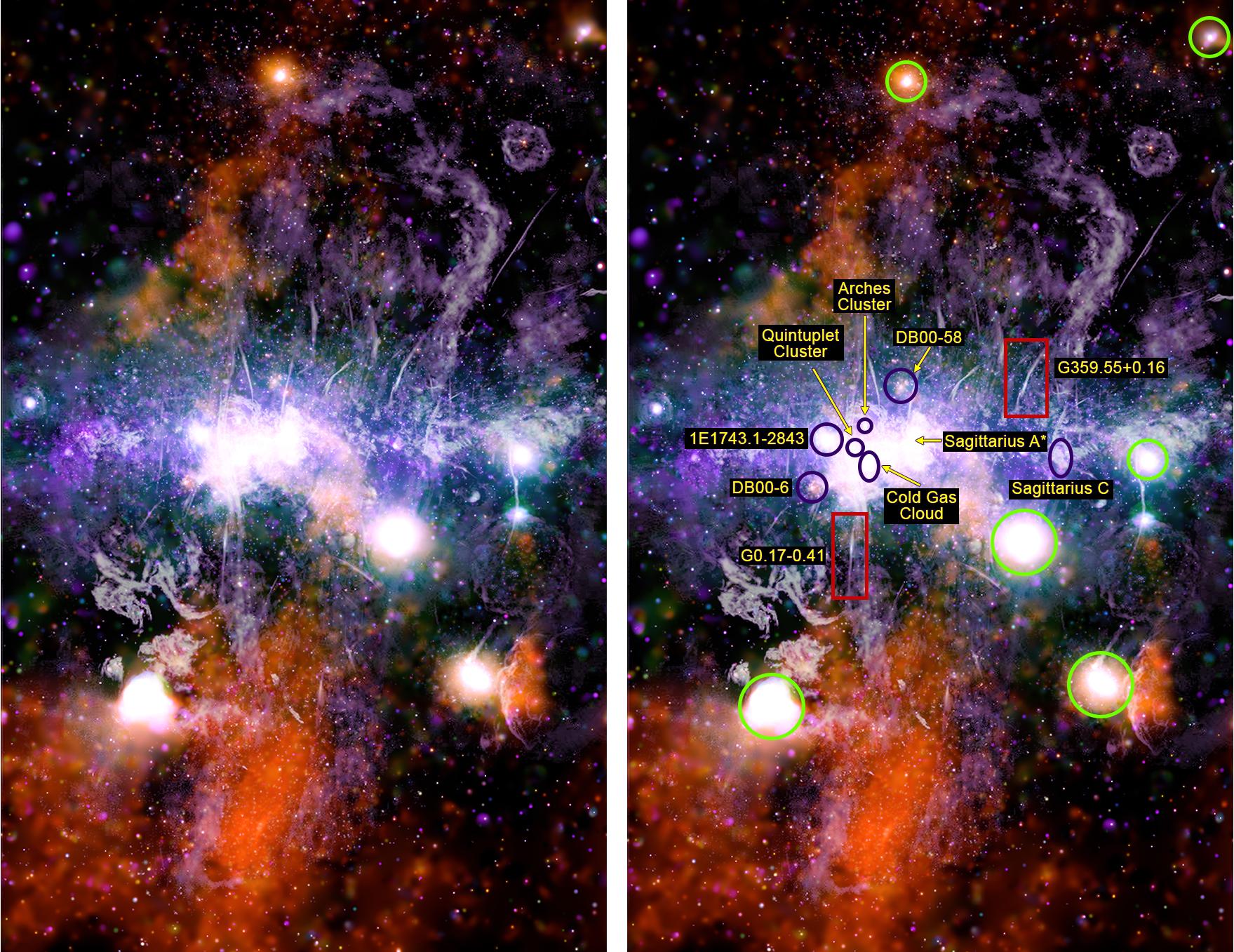 Panorámica del centro galáctico con numerosos filamentos