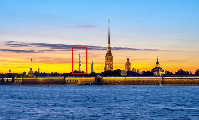 Localización del nuevo edificio en San Petersburgo.