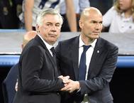 Ancelotti y Zidane, en el Bernabéu.