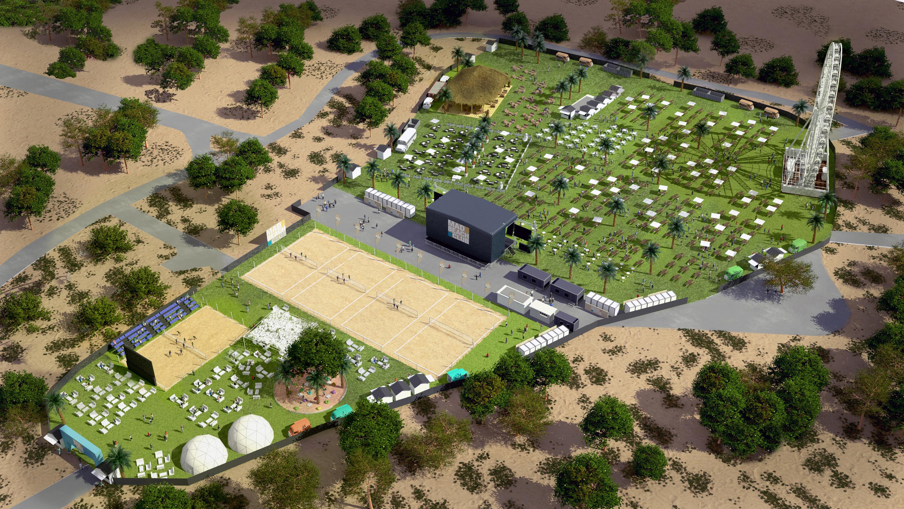 Recreación de las instalaciones de MadBeach Club en la zona de Casa de Campo.