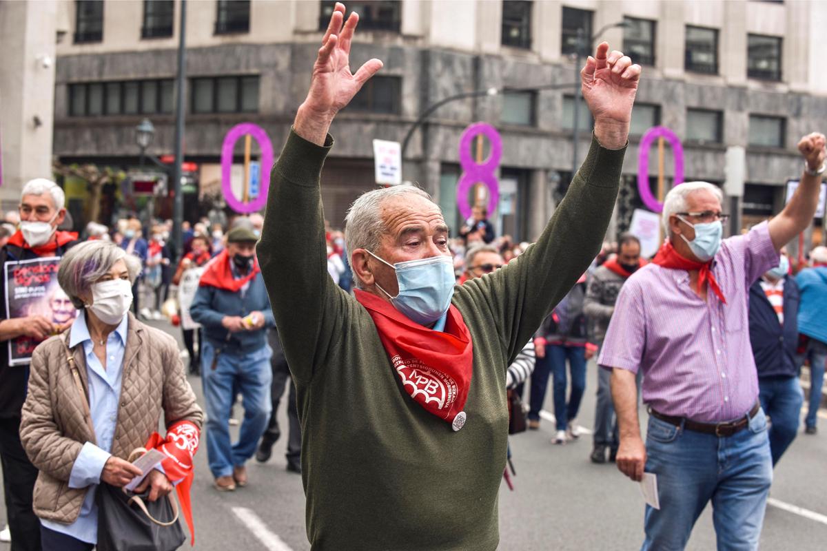 Manifestación de pensionistas celebrada el pasado sábado en Bilbao.