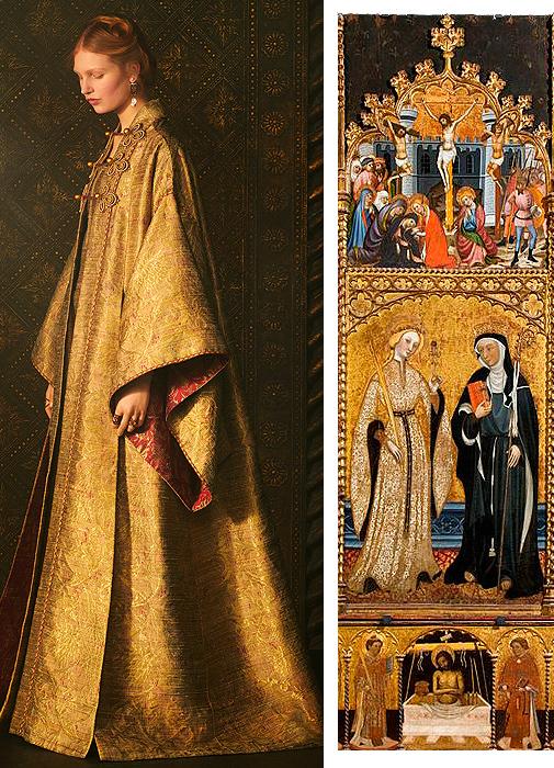 Abrigo de la colección de primavera-verano 2021 de Dior. 'Retablo de Santa Eulalia y  Santa Clara', de Pere Serra, fechado a finales del siglo  XIV.