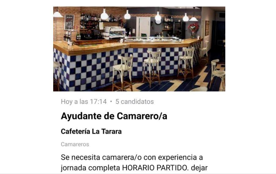 Oferta de trabajo publicada en Burgos.