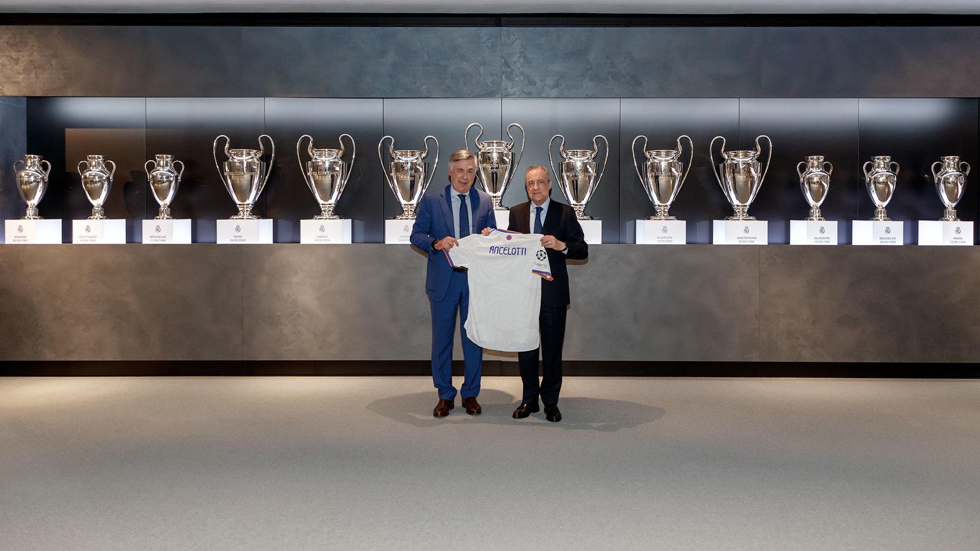 Ancelotti y Florentino, en la presentación del técnico.