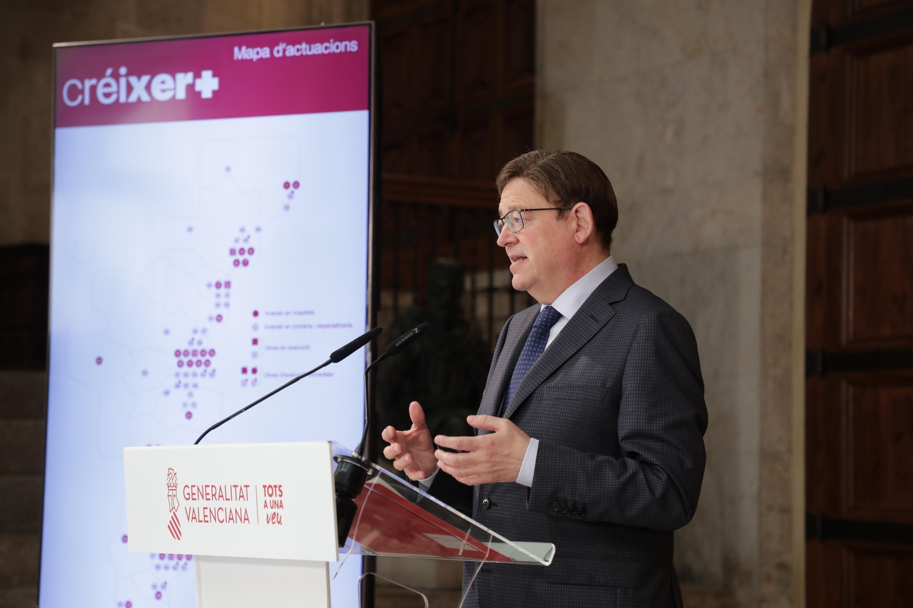 Puig anuncia una inversión de 658 millones en la mejora de las infraestructuras sanitarias en la Comunitat.