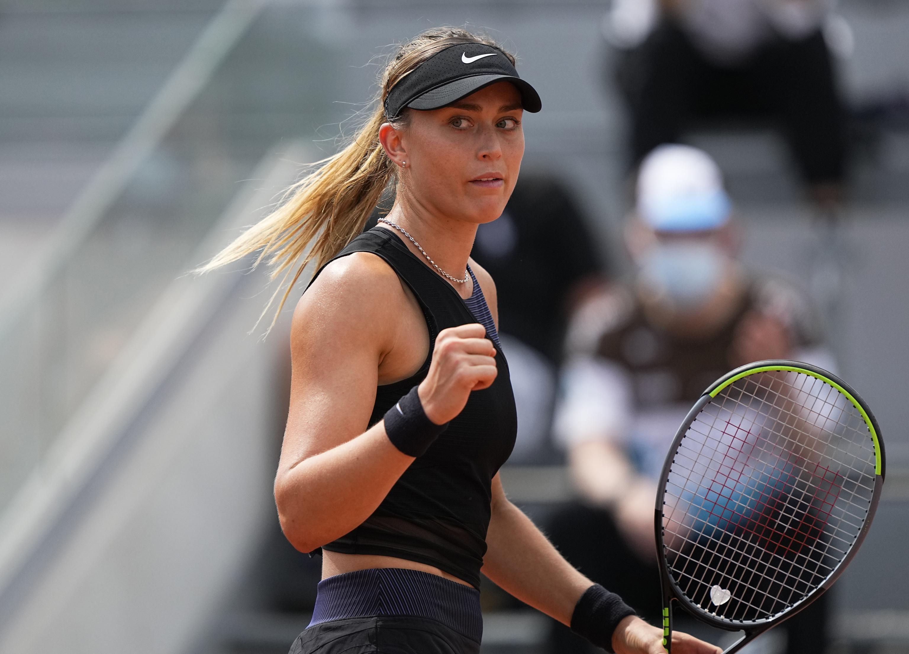 Paula Badosa celebra un punto ante Danka Kovinic.