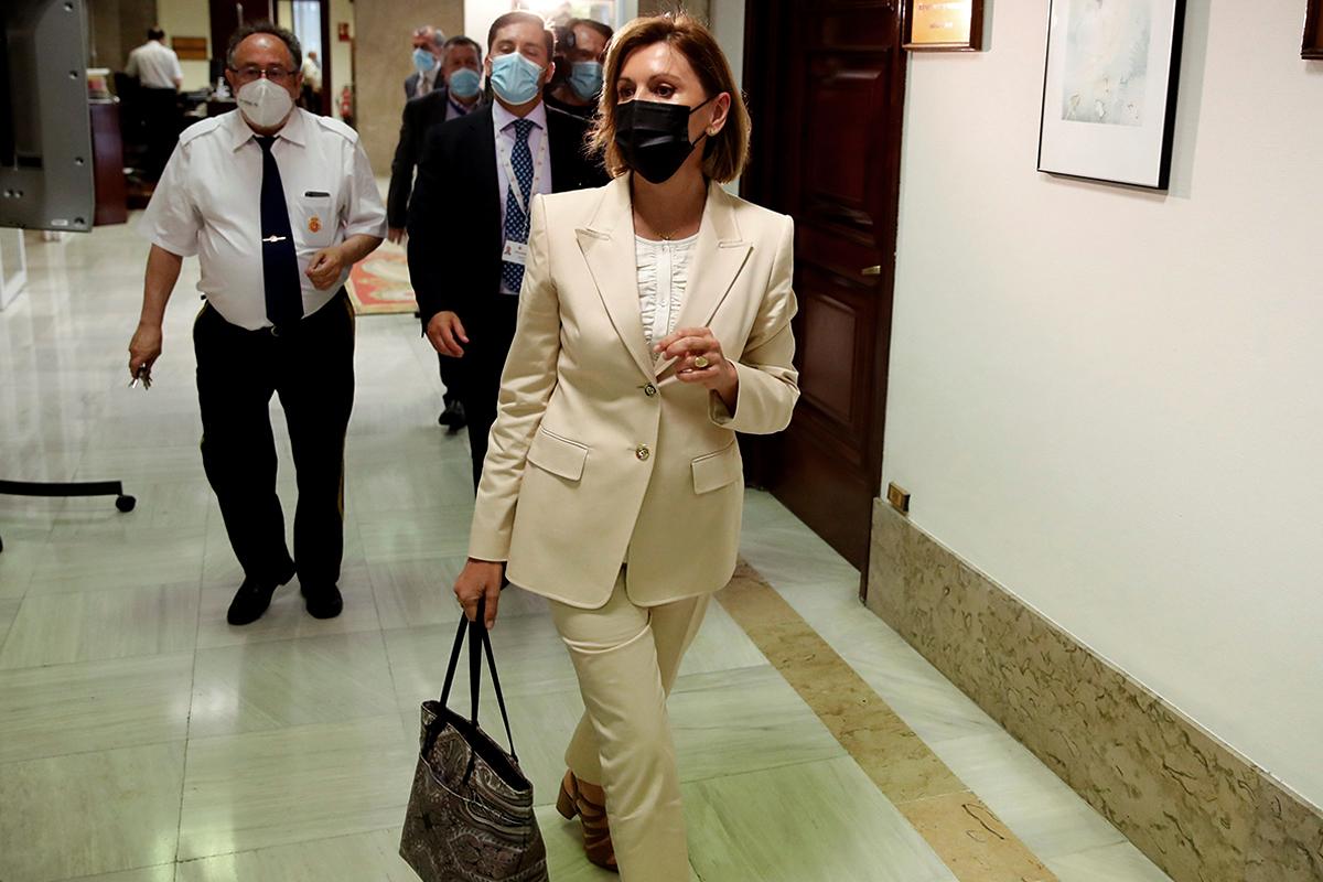 María Dolores de Cospedal, este miércoles a su llegada al Congreso.