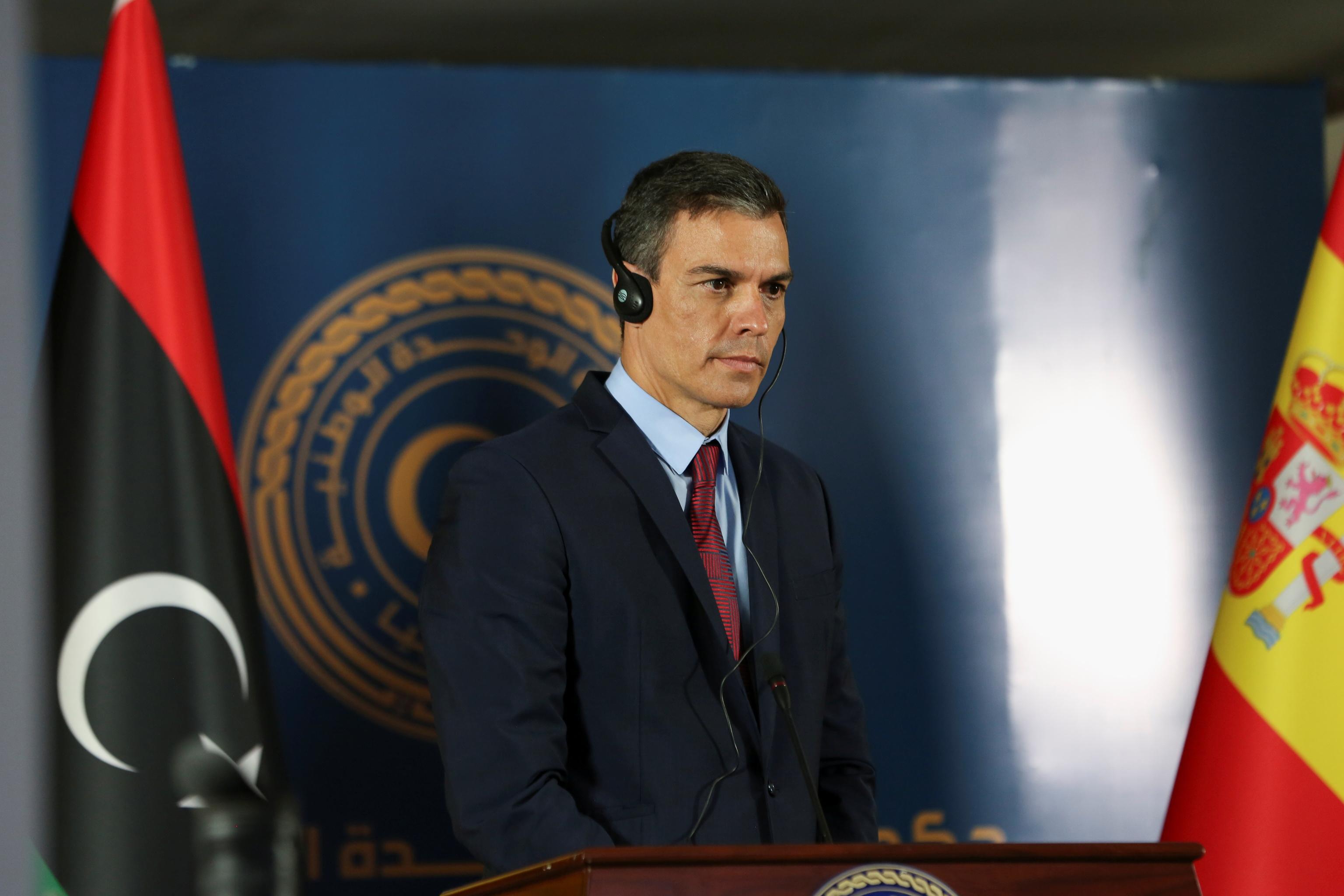 Pedro Sánchez, este jueves en Libia.