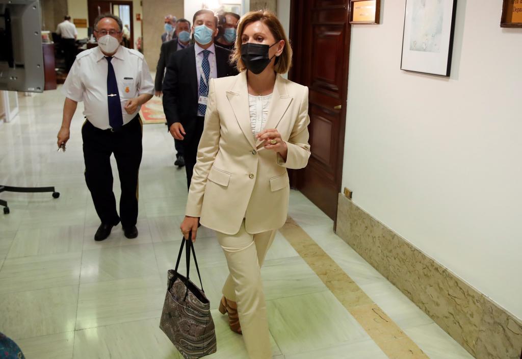 María Dolores de Cospedal, el miércoles, a su llegada al Congreso.