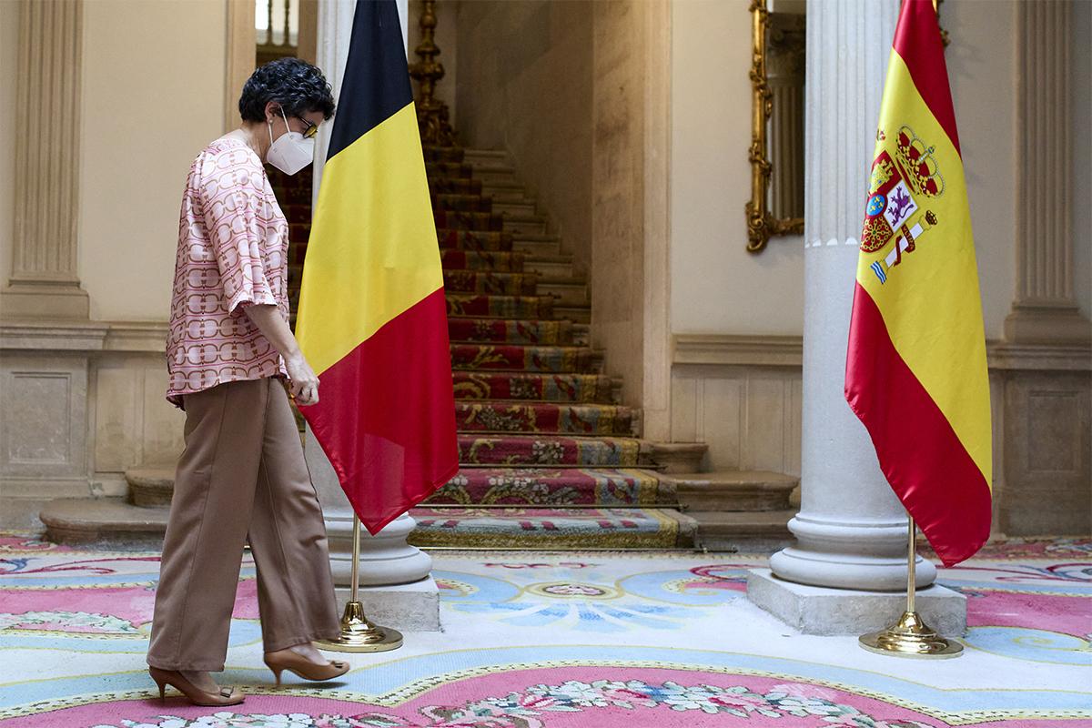 Arancha González Laya, antes de recibir el miércoles a su homóloga belga Sophie Wilmès.