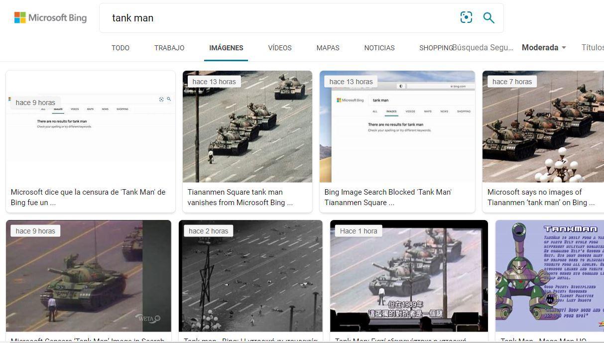 El buscador no muestra la famoso foto pero sí las noticias sobre su desaparición.