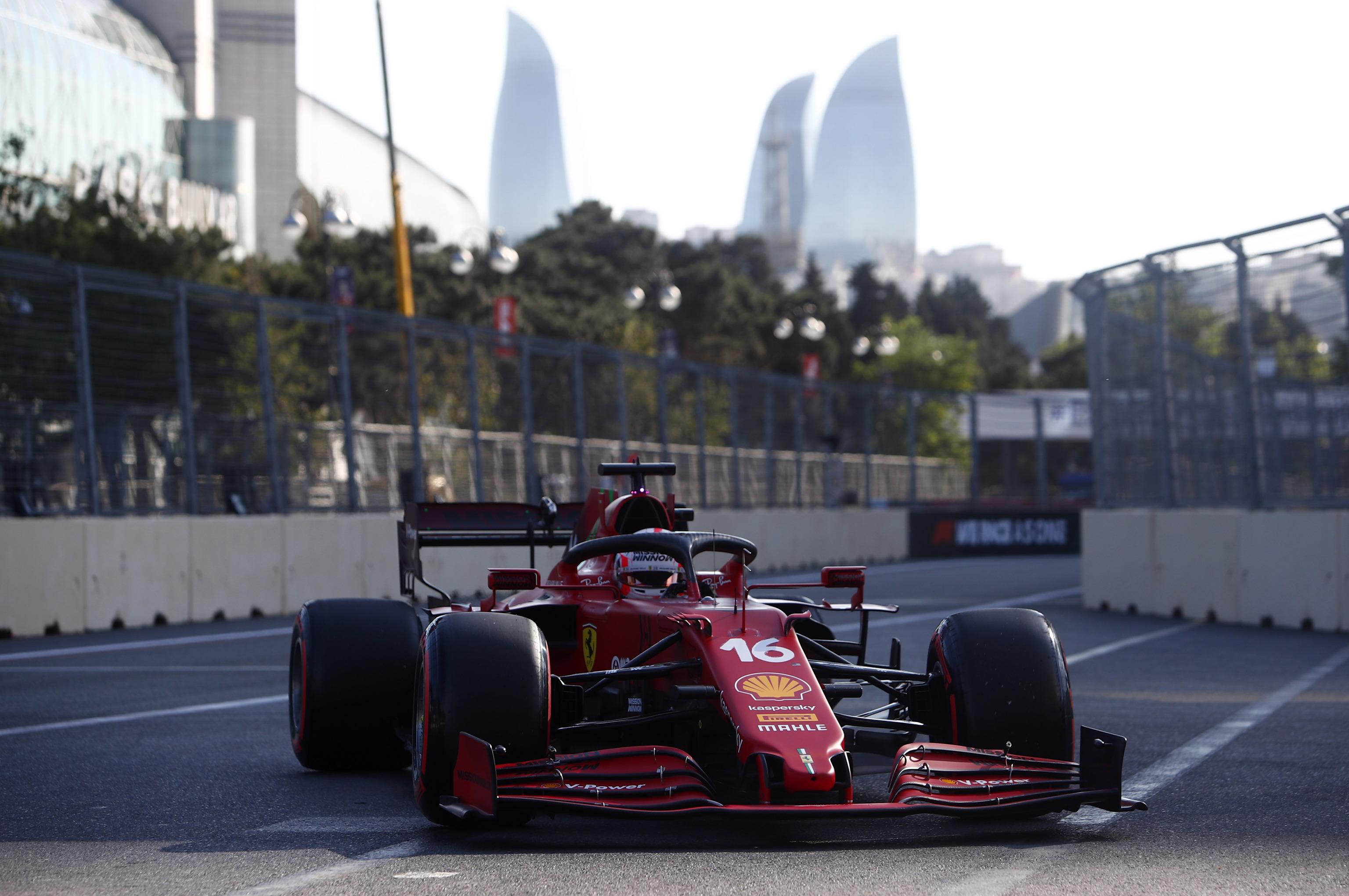 Leclerc, el sábado, durante la clasificación del GP de Azerbaiyán.