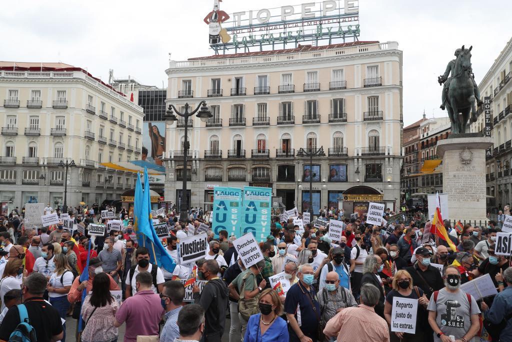 Un momento de la manifestación en la Puerta del Sol