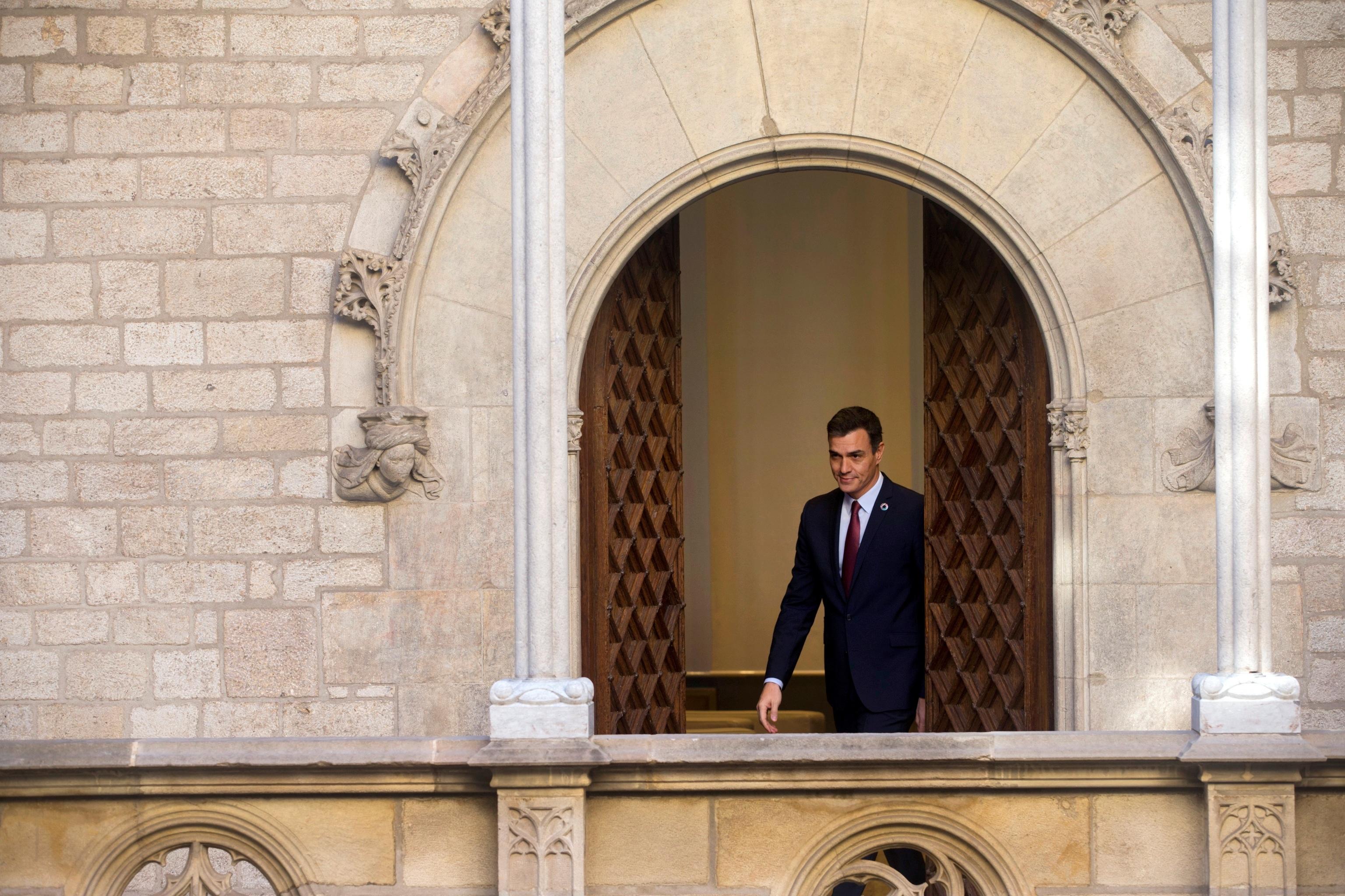 El presidente del Gobierno, Pedro Sánchez, en el Palau de la Generalitat.