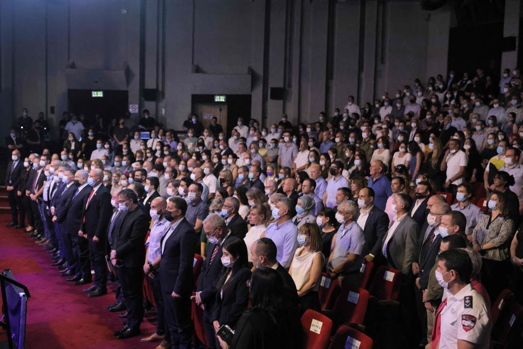Ceremonia de homenaje a los equipos médicos y las agencias por su labor en la pandemia celebrada este domingo en Israel.