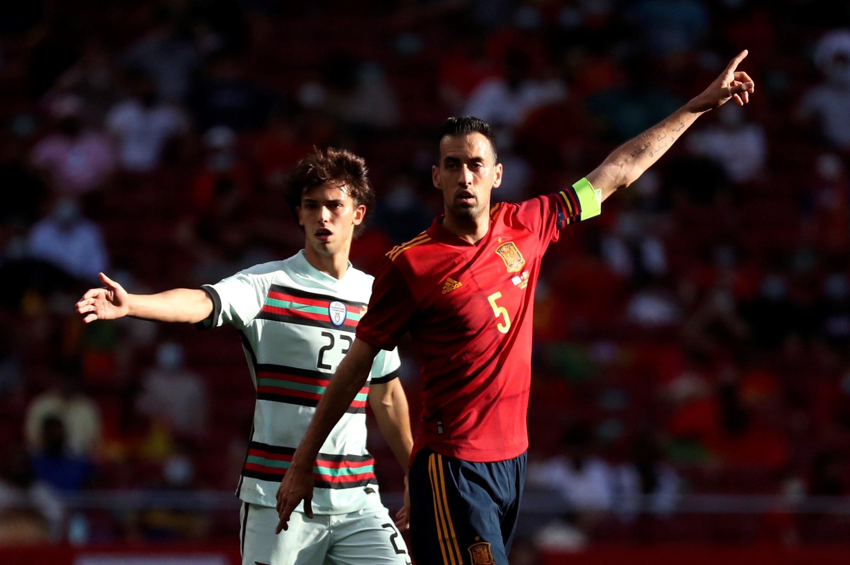 Busquets, durante el amistoso ante Portugal.