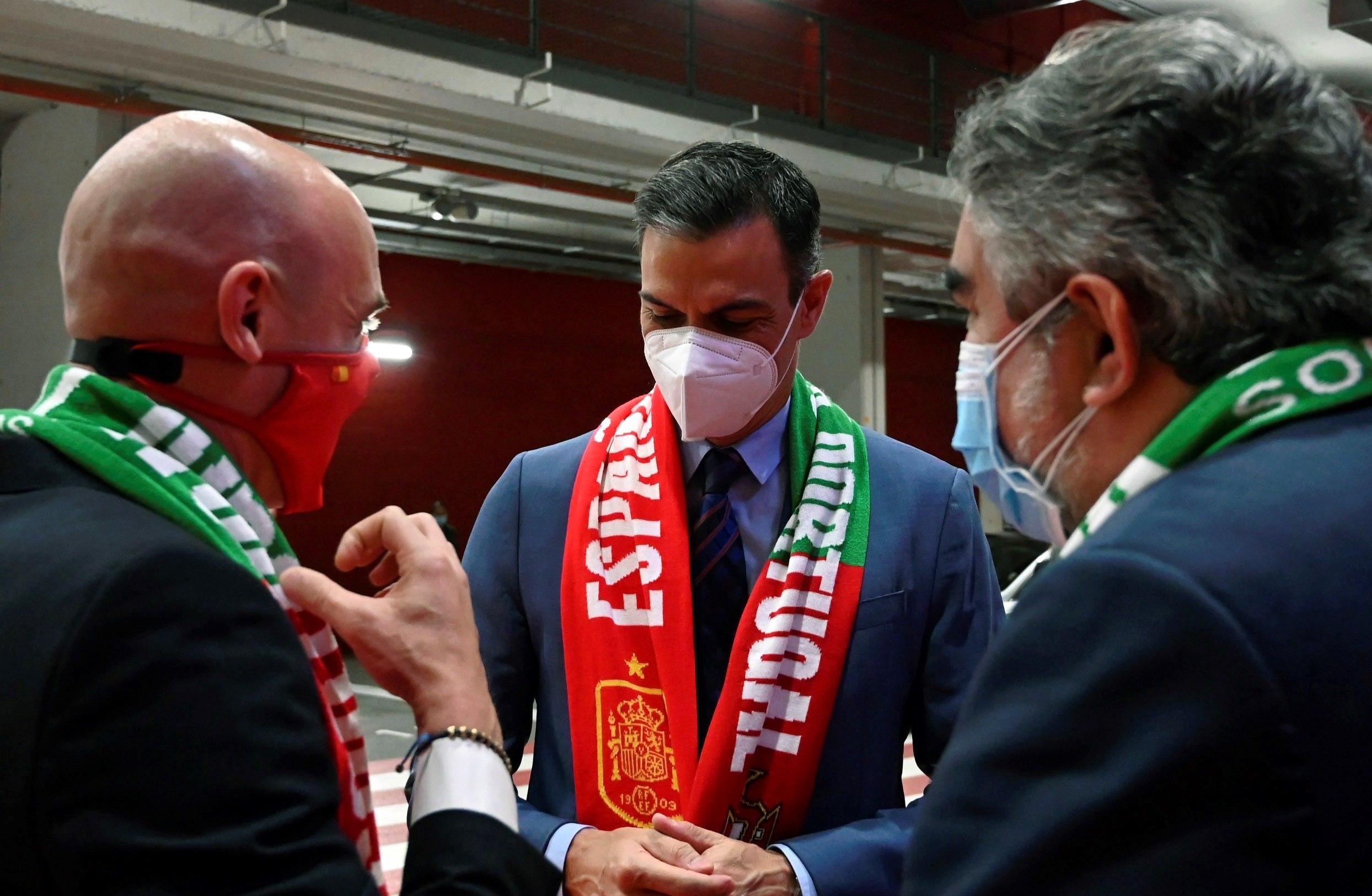 De izda a dcha: Luis Rubiales, Pedro Sánchez y Rodríguez Uribes.