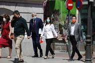 Garicano, Arrimadas y Bal, llegando la Tribunal de Cuentas para denunciar el rescate de Plus Ultra.