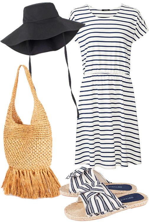 Sombrero de algodón (14,99 ¤), de H&M. Vestido de rayas marineras (7,99 ¤), de Esmara. Bolso de rafia (23,99 ¤), de Parfois. Sandalias de pala con tejido de rayas (6,99 ¤), de Esmara.
