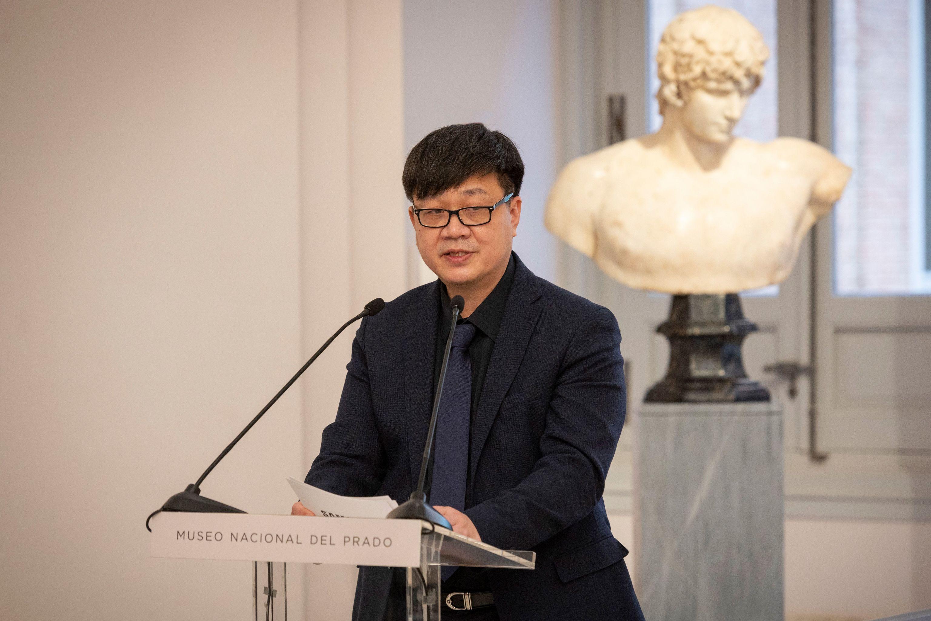 Ick Soo Choi, Presidente de Samsung Electronics Iberia, durante el acto de presentación en el Museo del Prado de Madrid.