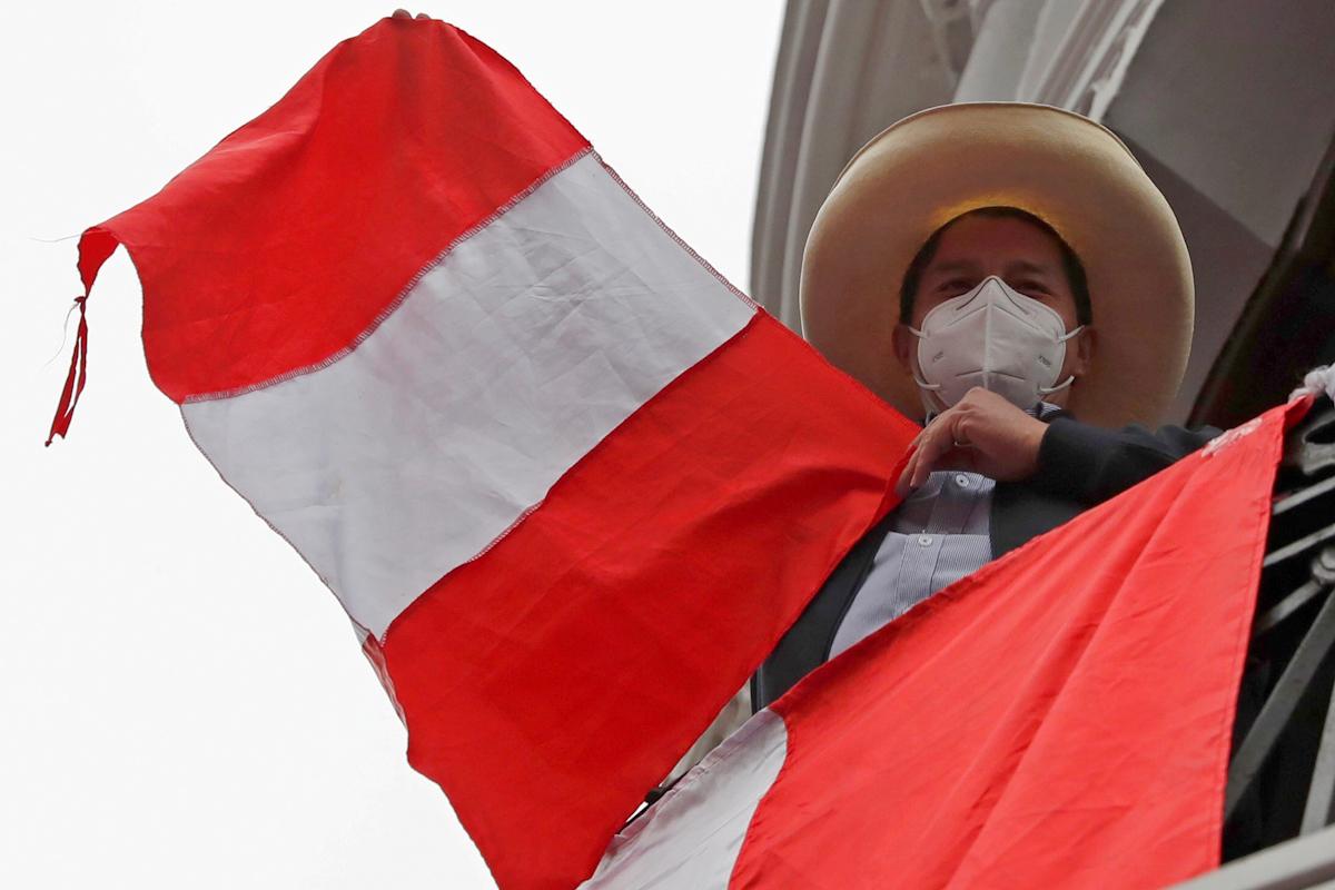 El candidato presidencial Pedro Castillo este lunes, en Lima.