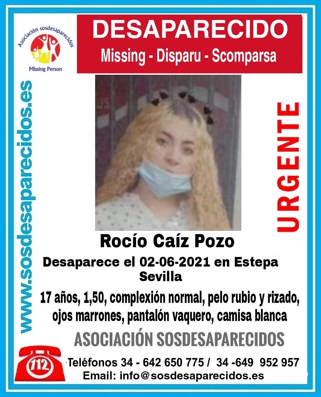 Cartel de búsqueda de la desaparecida Rocío Caíz Pozo.