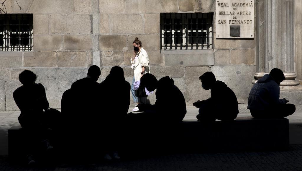 Un grupo de jóvenes en Madrid.