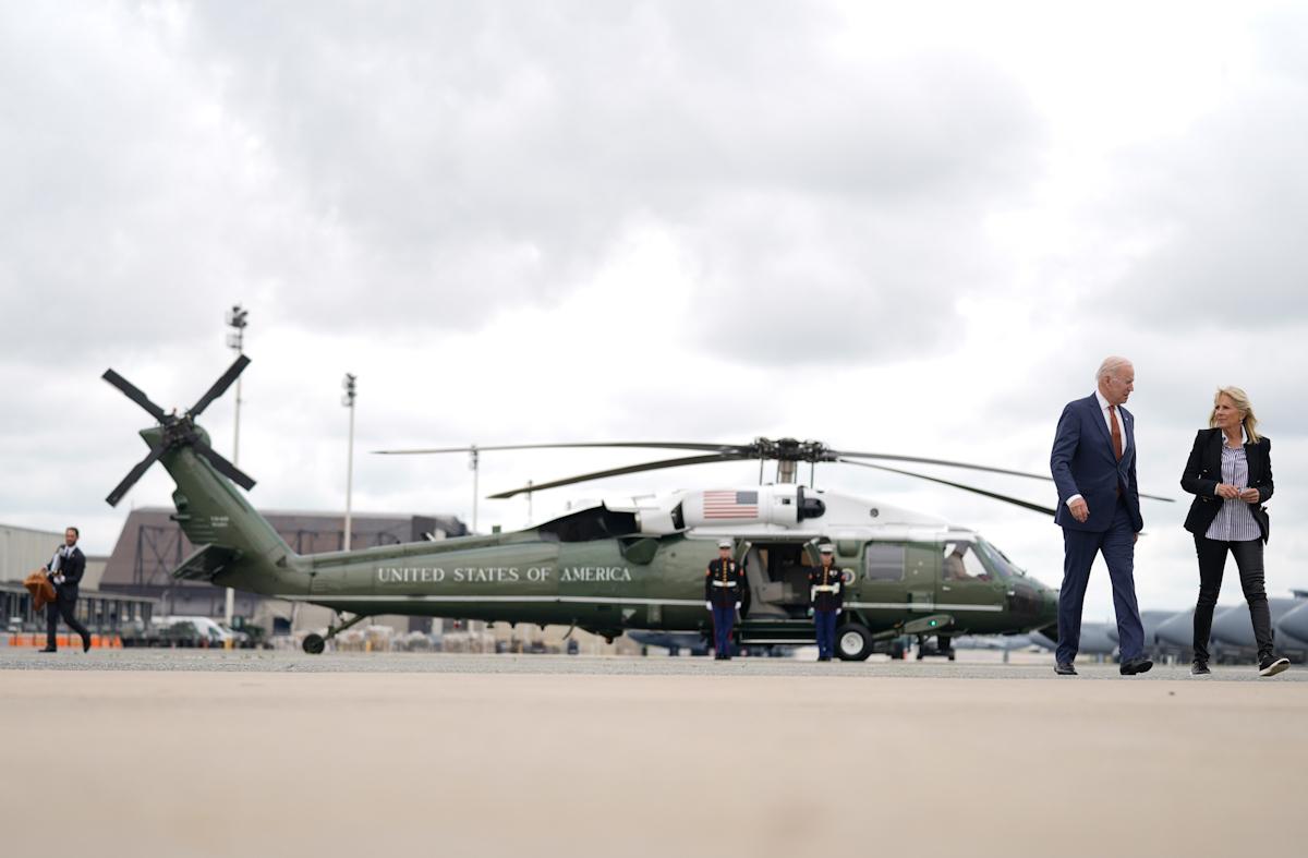 Joe Biden en su regreso a Washington el pasado viernes.