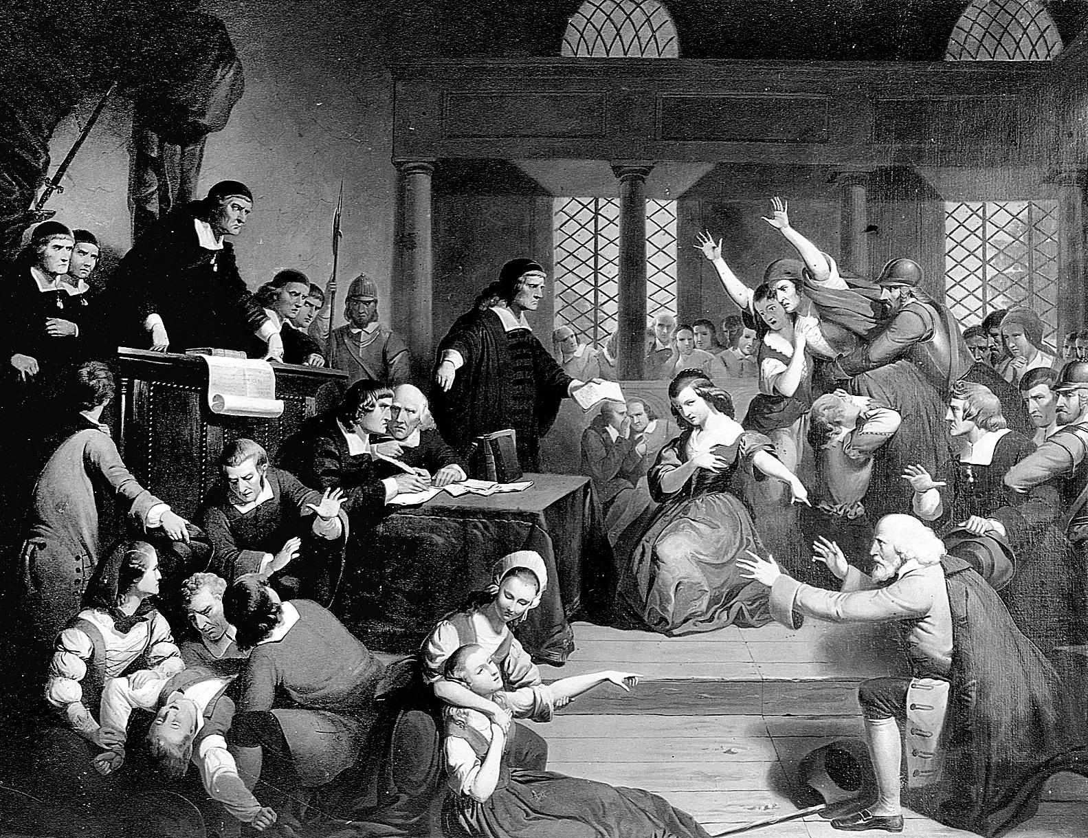 Grabado de una de las vistas de los juicios de Salem