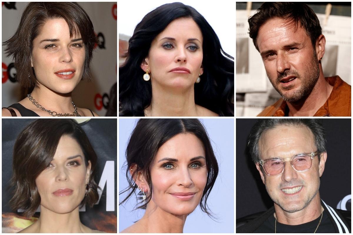 De izquierda a derecha y de arriba abajo, el antes y el ahora de Neve Campbell, Courteney Cox y David Arquette.