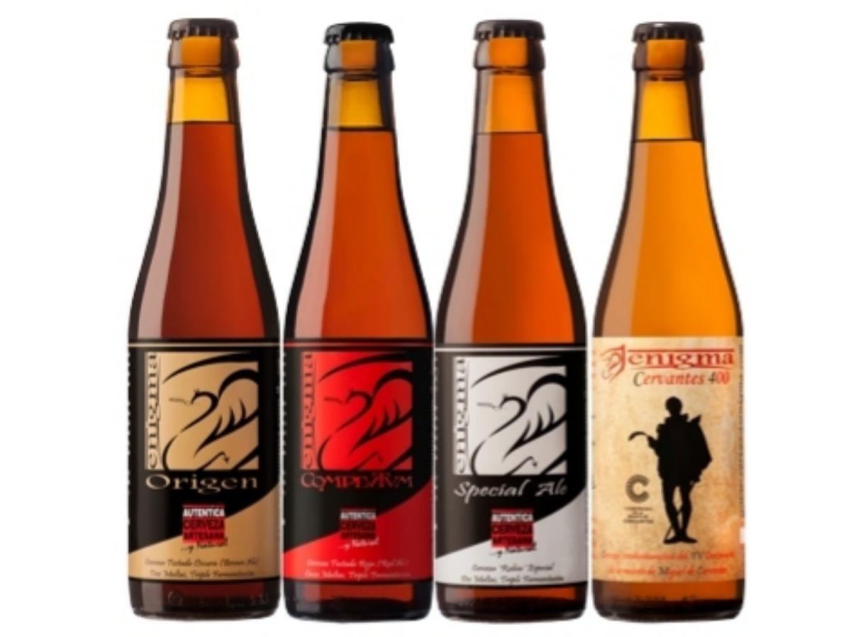 Origen, Complutum, Special Ale y Cervantes 400, las cuatro cervezas que Enigma ofrece todo el año.