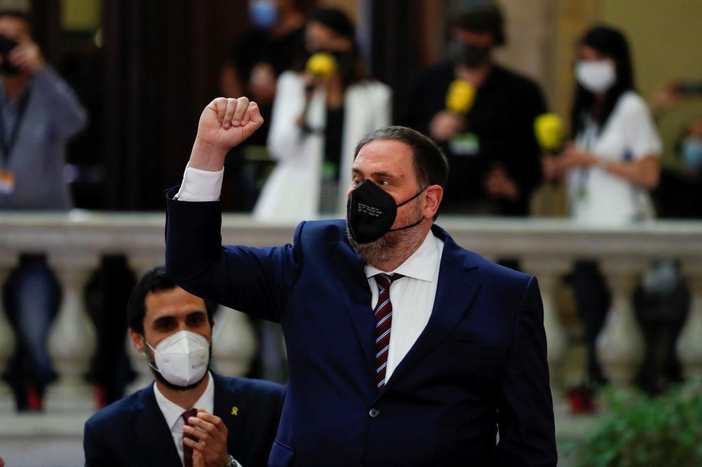 Oriol Junqueras, en el Parlament, durante un permiso penitenciario.