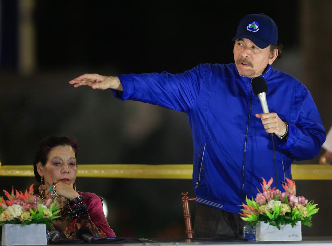 Daniel Ortega junto a la vicepresidenta de Nicaragua, Rosario Murillo.
