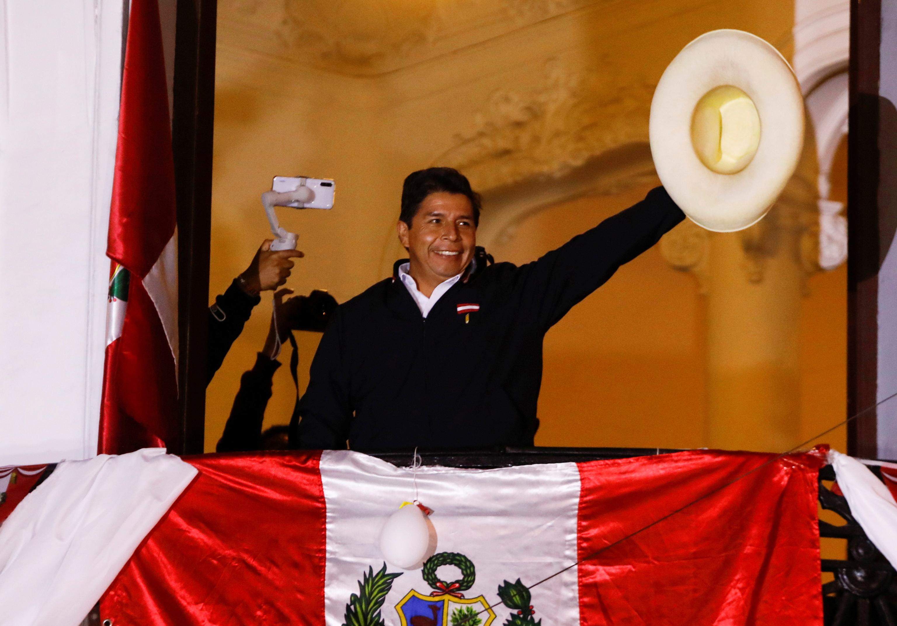 El candidato Pedro Castillo en Lima, el martes.