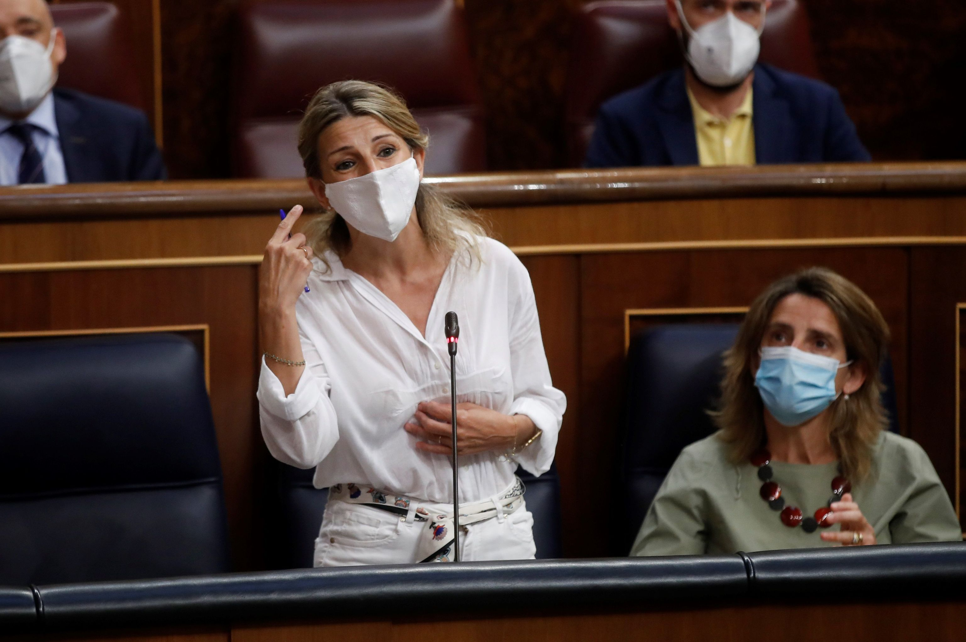 La vicepresidenta y ministra de Trabajo, Yolanda Díaz ayer en el Congreso.