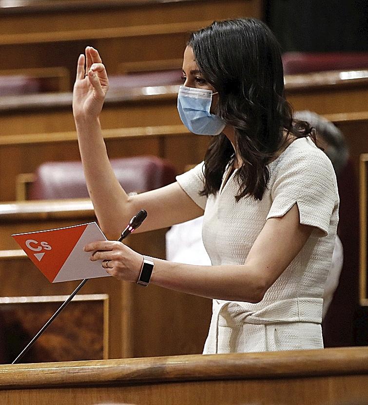 La líder de Ciudadanos, Inés Arrimadas, ayer, en el Congreso.